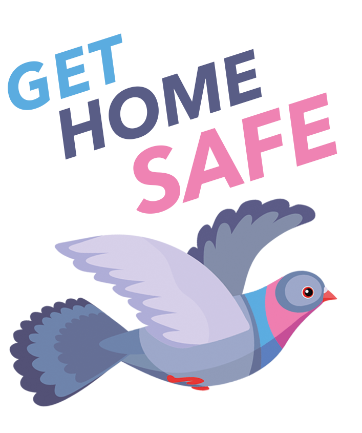 Get-home-safe logo with pigeon